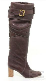 Chloe Brown PEBBLED Leather Cross Strap Knee High Heel Boots Size 39