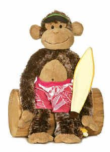 Cheeky Charlie Surfer Dude Surfing Monkey Chimp Aurora