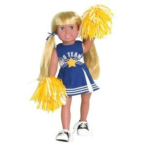 CHEERLEADER OUTFIT / CLOTHES, POM POMS & SHOES FIT AMERICAN GIRL / 18