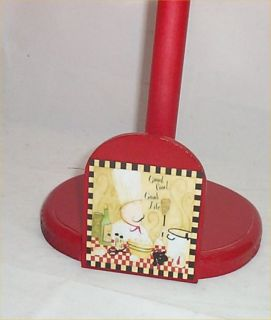 Fat Chef Paper Towel Holder Wood Bistro Decor Red 2 Chef Bike