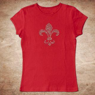 Fleur de Lis Christian Chick Cotton Rhinestone T Shirt Short Long