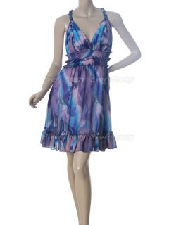 Empire Line Chiffon V Neck Halter Printed Purples Party Dress 03357 AU