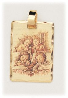 Two Guardian Angels Watching Two Sleeping Children Baptism Birth Medal
