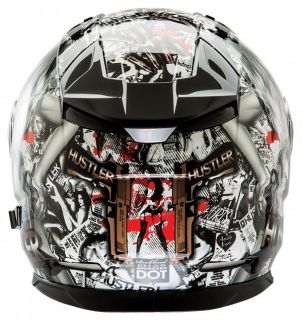 Hustler Volume II Full Face Motorcycle Sport Bike Street Bike Helmet