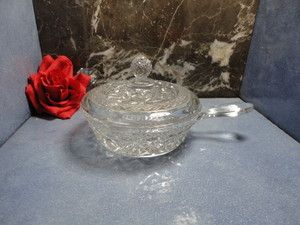Glass Depression Era Cape Cop chili soup crock pot handled w lid