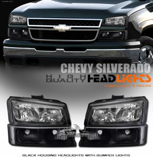 4pc 03 07 Silverado 02 06 Avalanche JDM Blk Head Lights Turn Signal