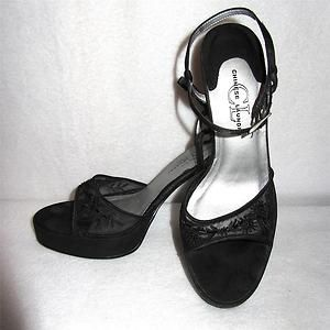 Chinese Laundry Black Satin Sheer Embroidered Beaded Peep Toe Strappy