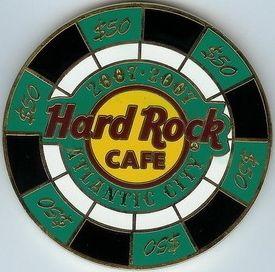 Hard Rock Cafe Atlantic City 2007 $50 Casino Chip Pin