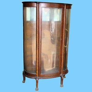 Oak Antique Curved Glass China Cabinet Claw Feet Mirrored Back