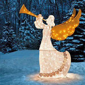 Angel with Horn w Moving Wings Lighted Christmas Outdoor Decor