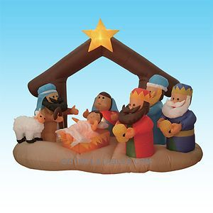 Christmas Inflatable Nativity Manger Scene Three Wise Men Yard