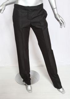 Chloe Black Silk Wool Sleek Tabbed Waist Slim Dress Pants Slack
