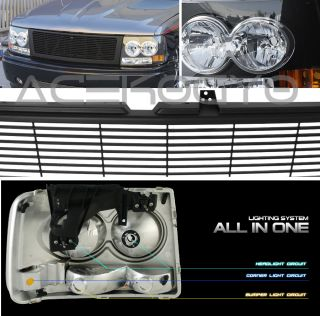 00 06 Chevy Suburban 1500 2500 Blk Headlight Grille New