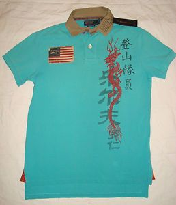 Ralph Lauren Chinese Letters Graphic Dragon US Flag Polo Mens Shirt