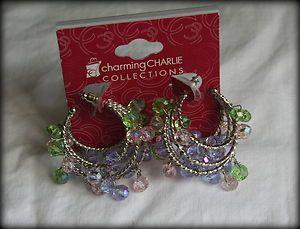 Womens Charming Charlie pierced earring set iridescent beads hoop
