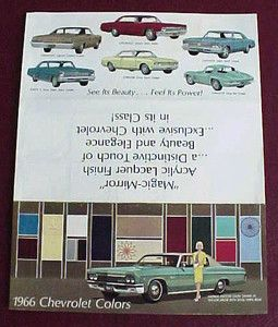 1966 CHEVROLET COLORS PAINT CHIP BROCHURE EXC ORIG. IMPALA CHEVELLE