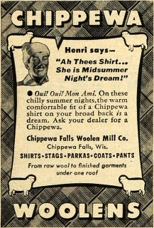 1947 Ad Chippewa Falls Woolen Mill Co. Winter Clothing   ORIGINAL