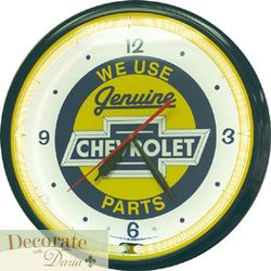 Chevy Bowtie Neon 20 Wall Clock Auto Made in The USA 1 Year Warranty