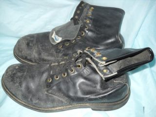 Vintage Mason CHIPPEWA Falls Black Leather Steel Toe Work Boots 50s