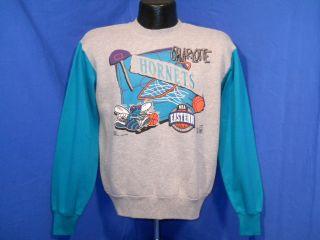 Vintage 90s Charlotte Hornets NBA Eastern Grey Teal Crewneck