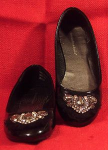 Christopher & Banks Womens Flats Rhinestone Embellished Black Patent