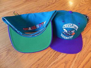 CHARLOTTE HORNETS NBA VINTAGE SNAPBACK RETRO 2 TONE THE G CAP HAT NWT
