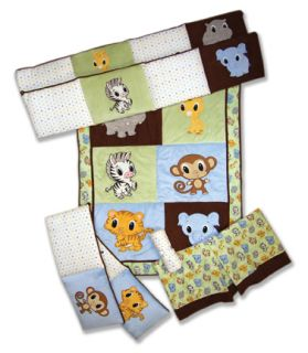 Trend Lab Chibi Zoo 13 PC Baby Nursery Crib Bedding Set