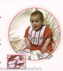 Pattern to Make Sweet Red White Flowers Bib Baby Booties Crochet