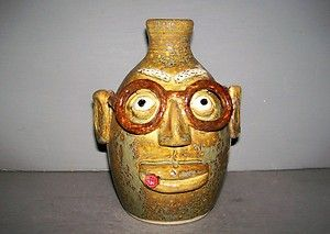 Face Jug With Glasses and Cigar Handmade Southern Folk Art Pottery by