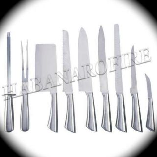 New Professional Stainless Steel Chef Knife Set with Slicer Meat Fork