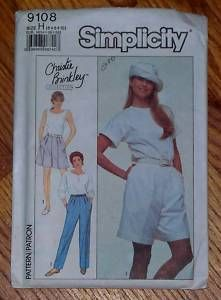 Simplicity 9108 Christie Brinkley Pants Shorts Womens Pattern Sz 6 10