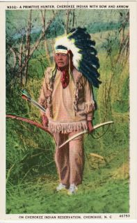 Cherokee Indian with Bow and Arrow Postcard