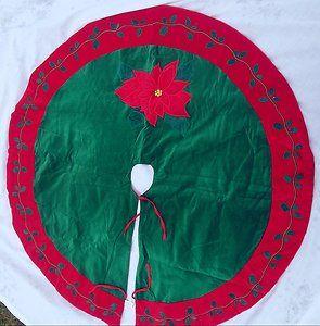 """Christmas Tree Skirt 40"""" Velvet with Applique Poinsettia Holly Fully"""