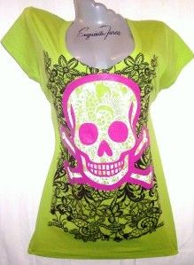V25C Hot Pink Green Tattoo Lace Punk Rock Skull Goth Tee T Shirt Top