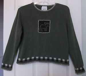 Christopher Banks Size M Green sweater embroidered moose long sleeves