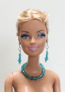 Silver Barbie Necklace & Earrings Set w/ Graduated Swarovski TEAL BLUE