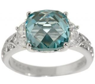Tacori IV Diamonique Epiphany 4.00ct Simulated Aqua Tourmaline Ring