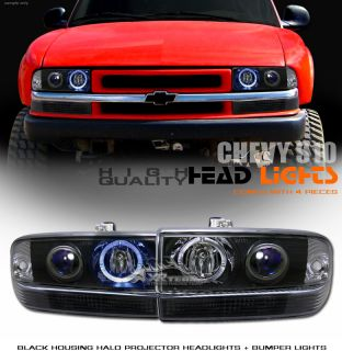 98 04 Chevy S10 Blazer Blk Projector Head Lights Bumper