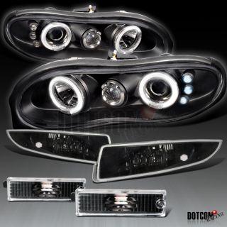 Chevy 98 02 Camaro Projector Headlights w Bumper Side Marker Black