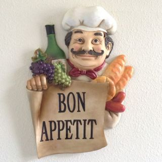 Chubby French Fat Chef Bon Appetit Hanging Kitchen Wall Decor Bistro