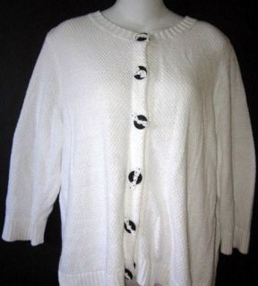 Banks Christopher Banks White Cardigan Sweater Black Buttons Bows