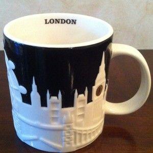 Starbucks Coffee raised city skyline LONDON England UK Relief Mug 2011