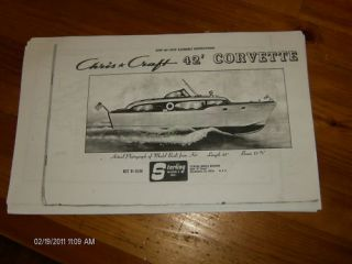 CHRIS CRAFT 42 CORVETTE MODEL BOAT INSTRUCTION / WOODEN BOAT PLANS