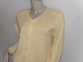 Christopher Banks Size M Pretty Yellow V Neck Knit Button Cardigan