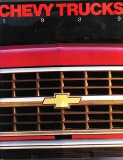 1989 chevrolet pickup truck original sales brochure 68 pages measures