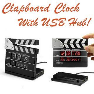 New Film Clap Clapper Board Calendar Clock USB Hub Movie Slate Gadget