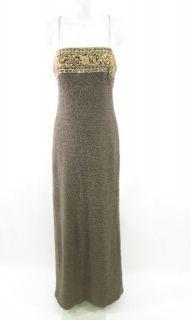 Christina Perrin Brown Wool Long Gold Beaded Dress Sz 8