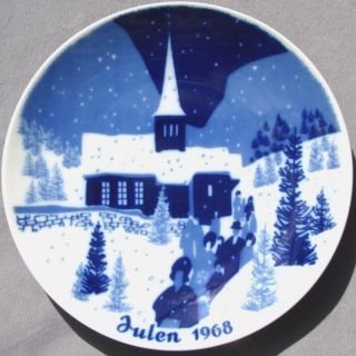 PORSGRUND 1968 Christmas Plate Norway Julen Church Scene Mint in Box
