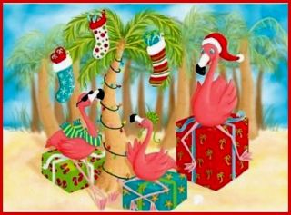 Pink FLAMINGO & PALM Tree Florida Christmas 16 Holiday Boxed Cards NEW