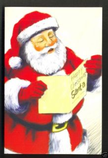 Santa Claus Father Christmas Reading Christmas Card